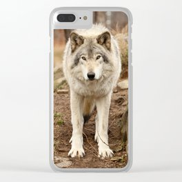Woodland Wolf Clear iPhone Case