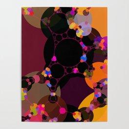 marilyn - abstract design of black pumpkin orange garnet red and pink Poster