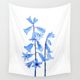 botanical bluebell flowers watercolor Wall Tapestry