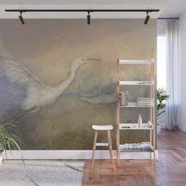 Snowy Egret - Taking Flight Wall Mural