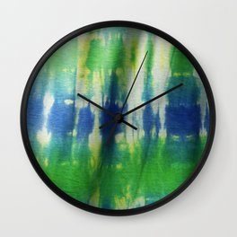 Tie Dye in Blue and Green 2 Wall Clock