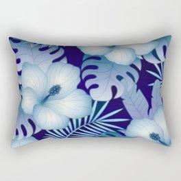 Blue Tropical Pattern Rectangular Pillow