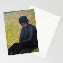 Boy Sitting in a Meadow Stationery Cards