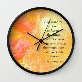 Serenity Prayer Orange Poppy Garden Glow Wall Clock