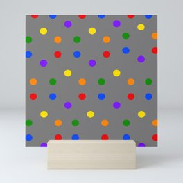 Playful Dots in Primary and Secondary Colors on grey background Mini Art Print