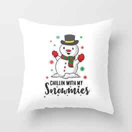 Christmas Snowman Chillin WIth My Snowmies Throw Pillow