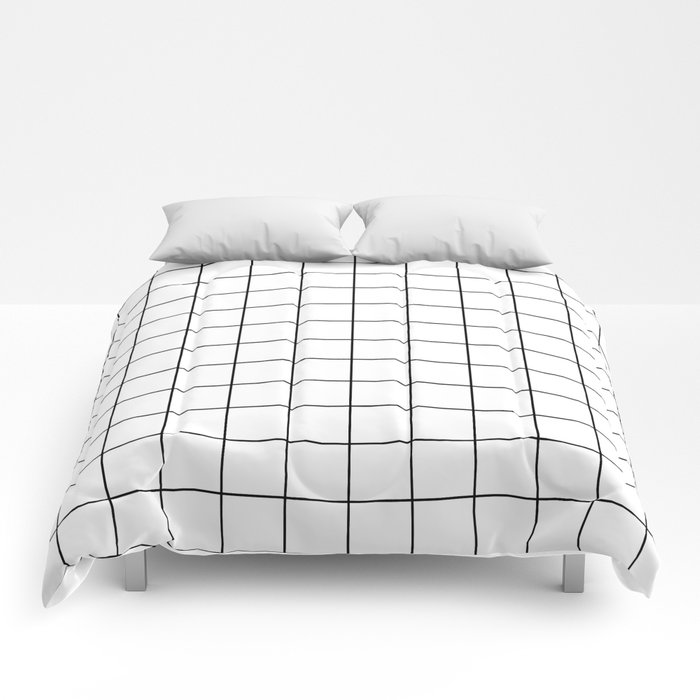 Grid Stripe Lines Black and White Minimalist Geometric Comforters
