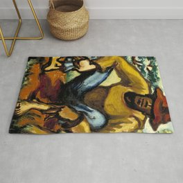 African American Masterpiece 'Resting' portrait painting by Claude Clark Rug