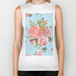 Living Coral Rose Bouquet with Floral Swirls Repeat Seamless Pattern in Blue Biker Tank