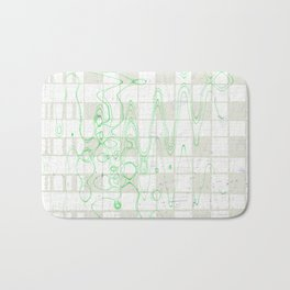 Green wavy lines on grey and white tiles background abstract background design Bath Mat