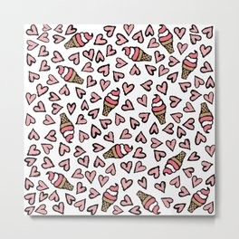 Cute Pink Hearts and Ice Cream Cones Illustrations Metal Print