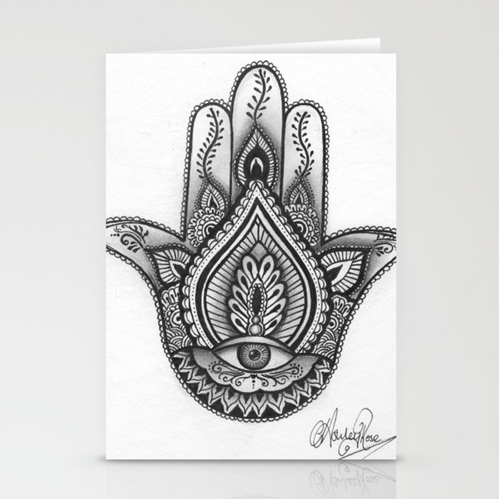 Hamsa Hand Illustration Evil Eye Protection Good Luck By Ashley Rose Standish Stationery