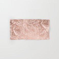 Modern rose gold floral illustration on blush pink Hand & Bath Towel