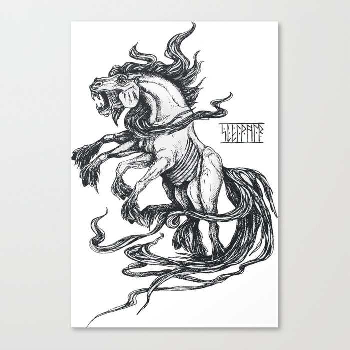 Mythological horse Sleipnir Canvas Print