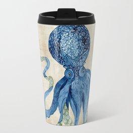 Indigo Ocean Octopus Blue n Tan Watercolor Travel Mug
