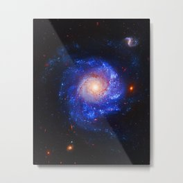 Pinwheel Galaxy Blue Metal Print