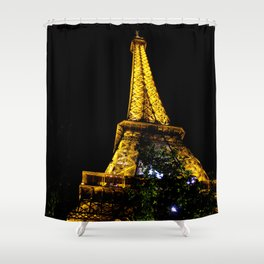 Eiffel Tower lit up at night, Paris Shower Curtain