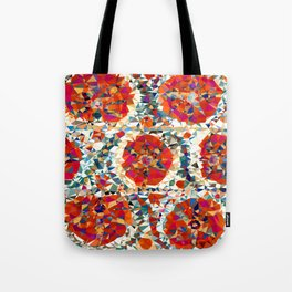 Suzani Flowers Uzbekistan Low Poly Geometric Triangles Tote Bag