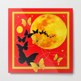 Butterfly Moon in Red Color Art Metal Print