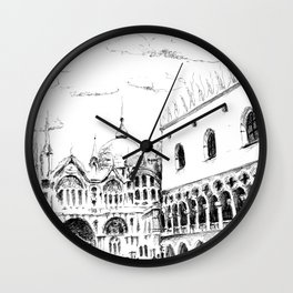 Sketch of San Marco Square in Venice Wall Clock