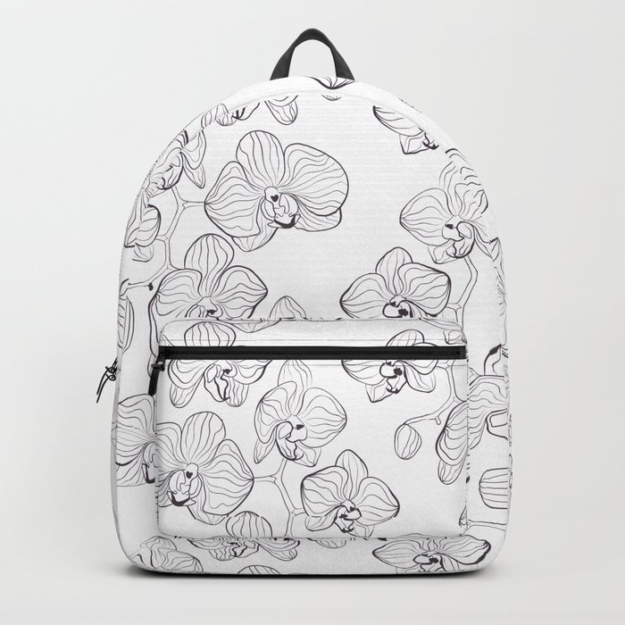 The White Orchid. Black and white pattern . Backpack
