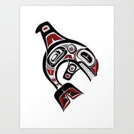 Pacific Orca design whale Northwest blackfish art formline black red Art Print