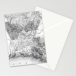Vintage Map of Louisiana (1838) BW Stationery Cards