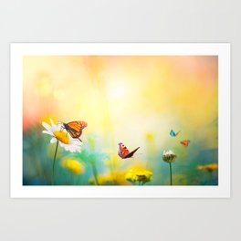 Flowers With Butterflies in the spring garden illustration Art Print