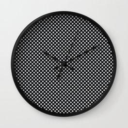 Black and Glacier Gray Polka Dots Wall Clock