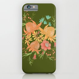 Australian Florals in Green iPhone Case