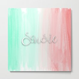 Susie - Mint and Coral Ombre Metal Print