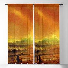 Classical Masterpiece Coastal Sunset by Albert Bierstadt Blackout Curtain