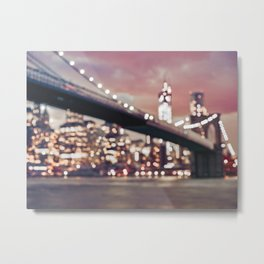 New York City Brooklyn Bridge Lights Metal Print
