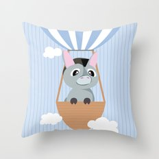 Mobil series hot air balloon donkey Throw Pillow