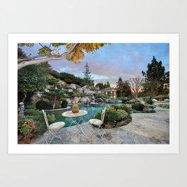 Picture California USA Pools San Juan Capistrano Nature Bush Landscape design Swimming bath Shrubs Art Print