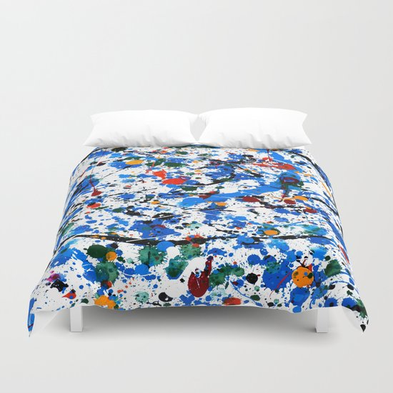 Abstract #23 - Frenzy in Blue Duvet Cover