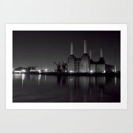 Battersea Power station at night Art Print