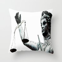 justice Throw Pillows featuring Justice ? by arnedayan