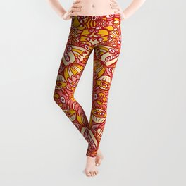 Red and yellow pattern design full of weird fantastic creatures Leggings