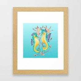 Two Seahorses Teal Framed Art Print