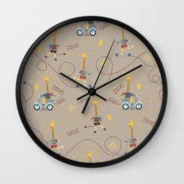 cool giraffe beige background Wall Clock