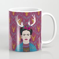 deer Mugs featuring DEER FRIDA by Bianca Green