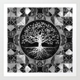 Tree of life - Gray scale Gemstone Art Print