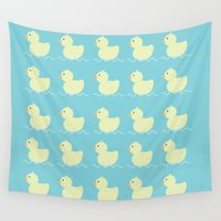ducks Wall Tapestries featuring Ducks  by Art à la Mutuz
