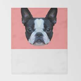 Frenchie / Boston Terrier // Pink Throw Blanket