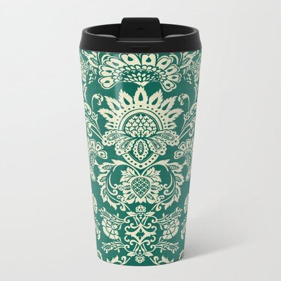 Damask vintage in green Metal Travel Mug