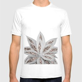 Gray Agave with Rose Gold Glitter #3 #shiny #tropical #decor #art #society6 T-shirt