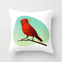 low poly Throw Pillows featuring Low-poly Red Bird by fortyfive
