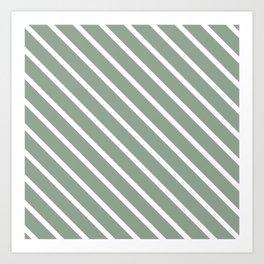 White Sage Diagonal Stripes Art Print