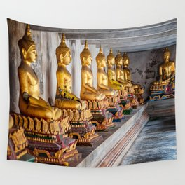 Golden Buddhas Wall Tapestry